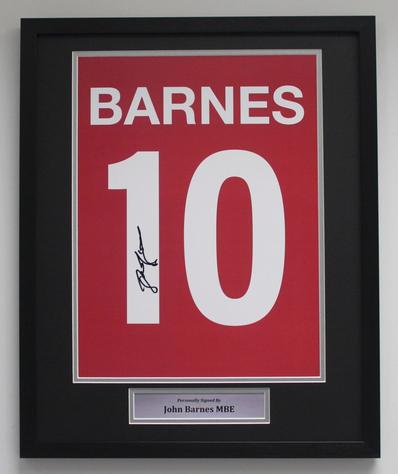 JOHN BARNES PERSONALLY SIGNED - LIVERPOOL PORTRAIT SHIRT PRINT - CLASSIC FRAME