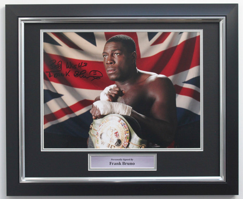 FRANK BRUNO SIGNED PHOTO - WBC WORLD HEAVYWEIGHT CHAMPION - PREMIUM FRAME