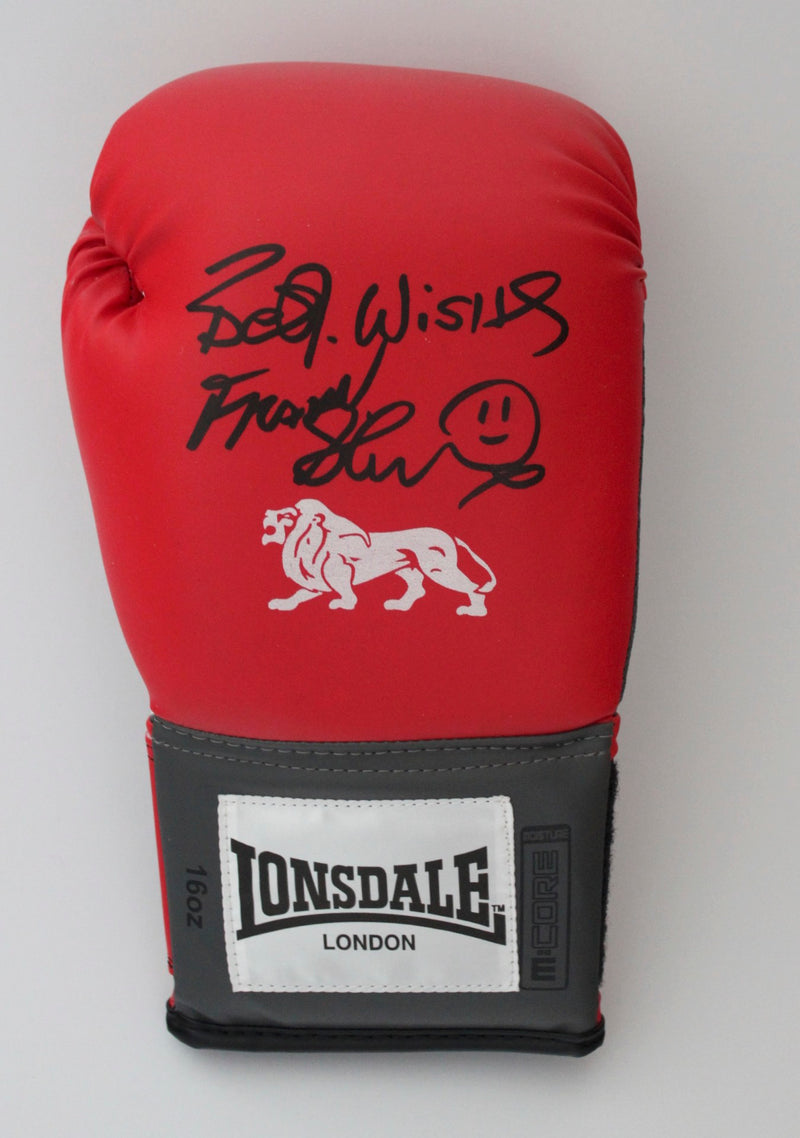 FRANK BRUNO -  RIGHT HAND LONSDALE RED BOXING GLOVE - PORTRAIT SIGNATURE