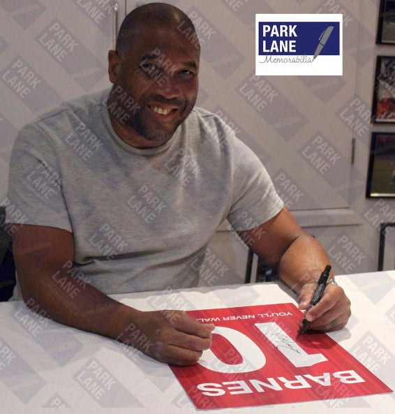 JOHN BARNES PERSONALLY SIGNED - LIVERPOOL PORTRAIT SHIRT PRINT - MOUNT - WITH YOU'LL NEVER WALK ALONE