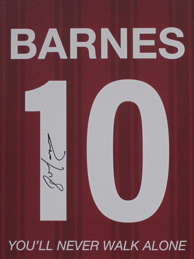 JOHN BARNES PERSONALLY SIGNED - LIVERPOOL PORTRAIT SHIRT PRINT WITH YOU'LL NEVER WALK ALONE