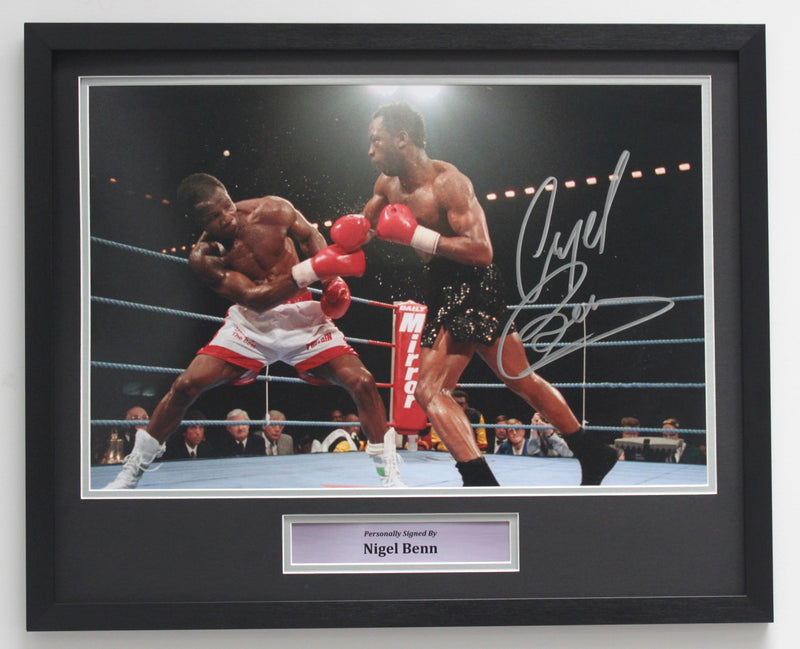 NIGEL BENN VS CHRIS EUBANK - SIGNED BY NIGEL BENN 18x12 - CLASSIC FRAME