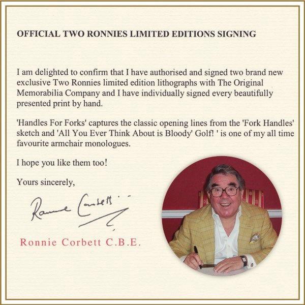 RONNIE CORBETT - THE TWO RONNIES - ARMCHAIR  - PREMIUM FRAME