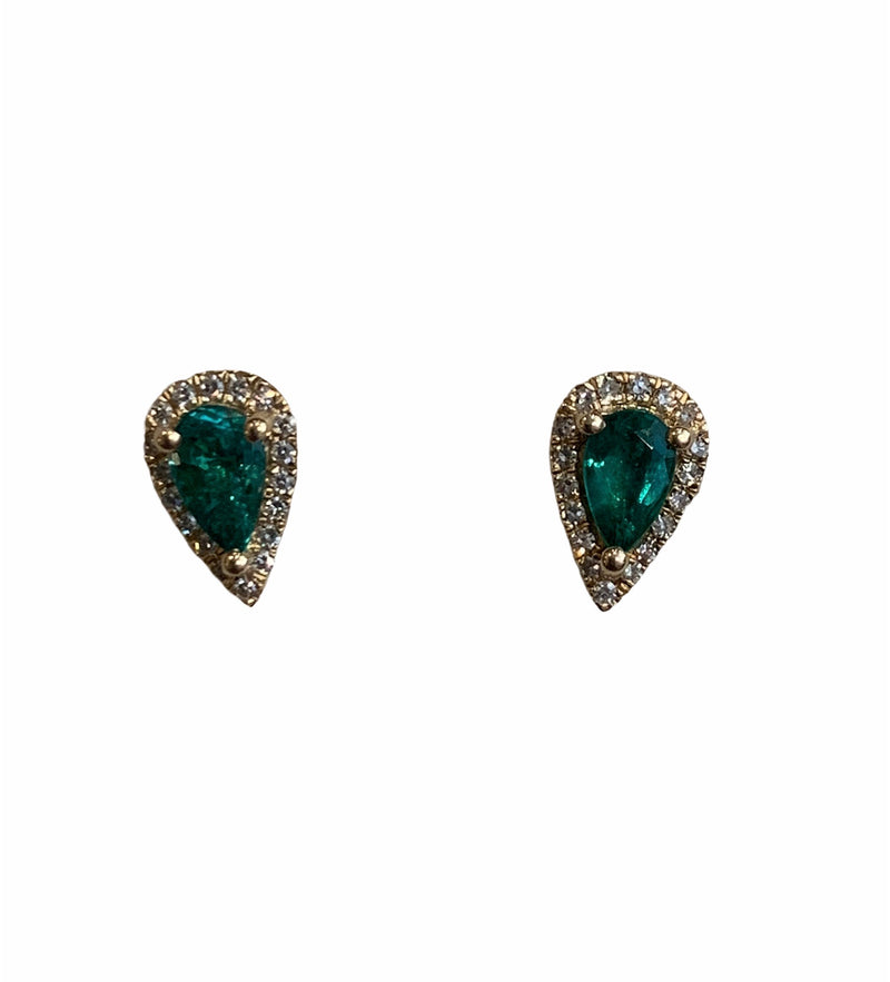 Emerald & Diamond Pear Studs