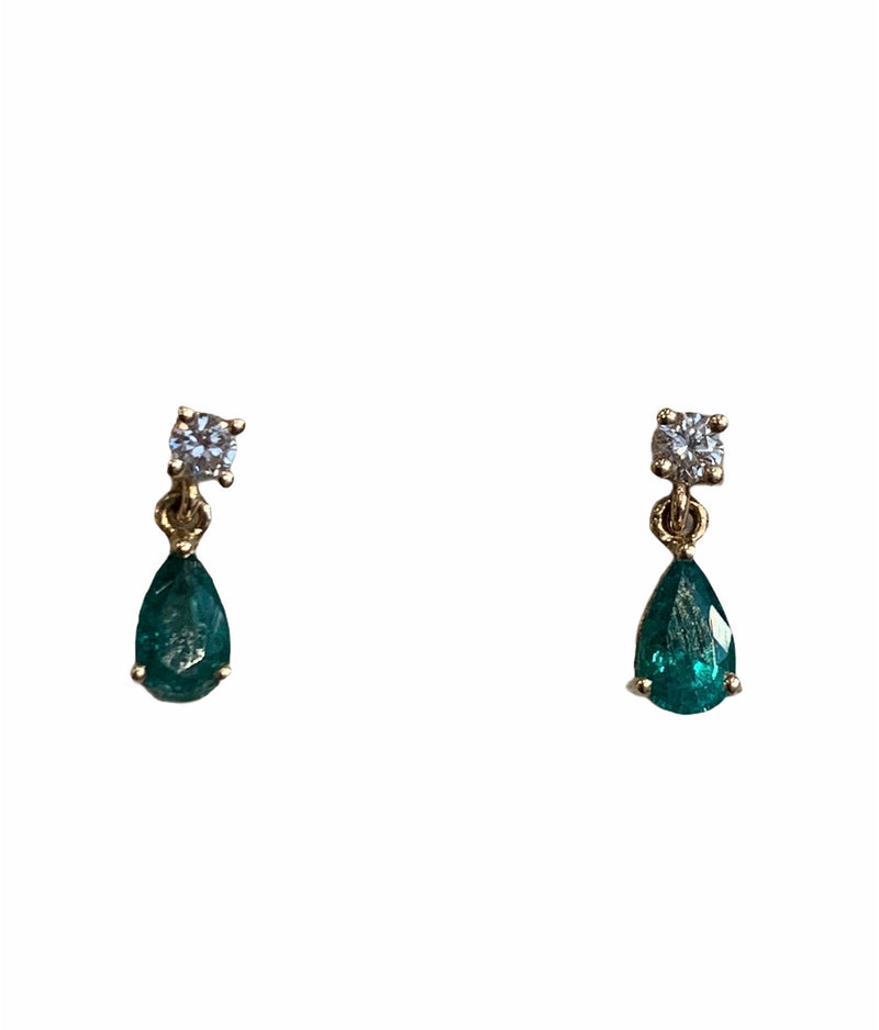 Emerald & Diamond Dangle Studs