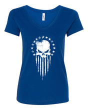 Load image into Gallery viewer, Women's Patriotic Punisher V-Neck