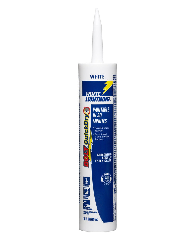 White Lightning 20510 10 oz. Bolt Quick Dry Siliconized Caulk