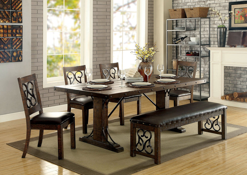 PAULINA Rustic Walnut, Espresso 7 Pc. Dining Table Set