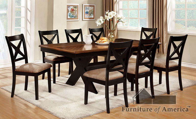 Liberta Dark Oak/Black 9 Pc. Dining Table Set