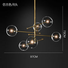 Load image into Gallery viewer, modern design glass ball chandelier 6 heads clear glass bubble lamp chandelier for living room kitchen black/gold light fixture