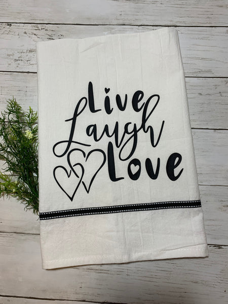 "Decorative Tea Towel Dish Towel - ""Live Laugh Love"""