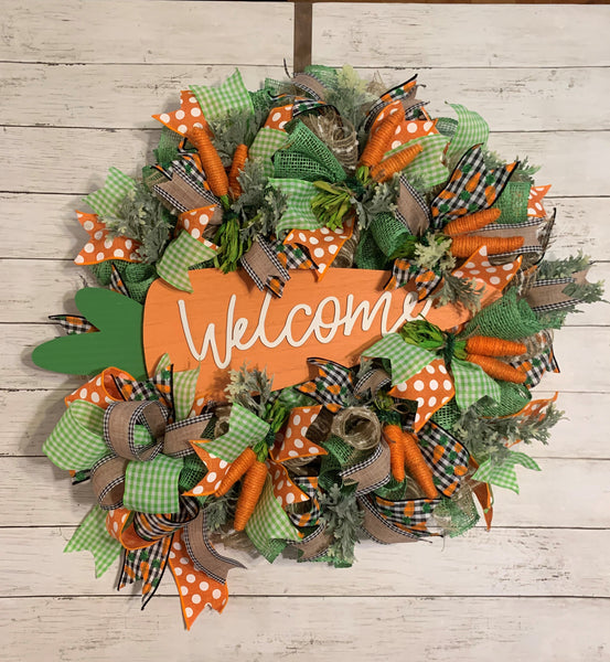 Easter Spring Wreath - Carrots & Polka Dots Galore!  Totally Adorable Greeting Your Guests