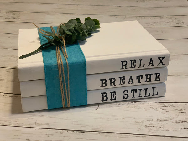 Painted Book Stack - Relax, Breathe, Be Still
