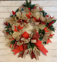 Christmas Holiday Wreath - Country Farmhouse Style - Elegant Gold Sparkle