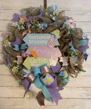 Easter Wreath - Farmhouse Style, Deco Mesh - Welcome Easter Bunny and Friends with a Little Sparkle