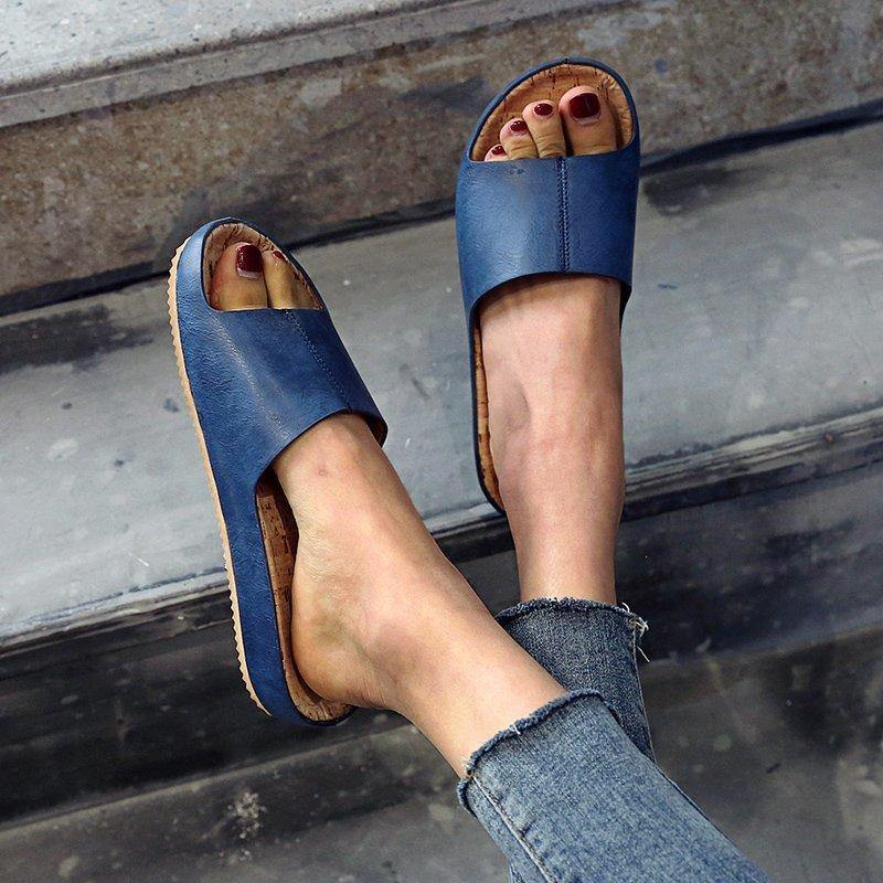Large Size Retro Wood Grain Flat Sandals Women-FREE SHIPPING