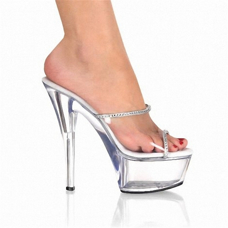 Stiletto Sandals And Slippers High-Heel Transparent Rhinestone Women's Shoes-FREE SHIPPING