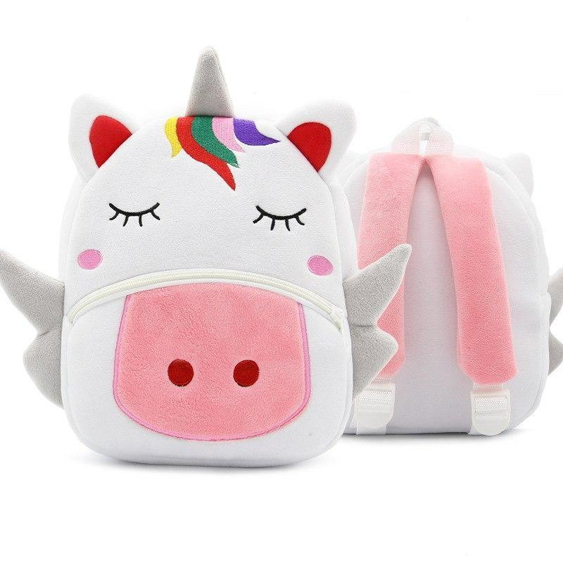 Children School Backpack Cartoon Rainbow Unicorn Design Soft Plush Material For Toddler Baby Girls Kindergarten Kids School Bags-FREE SHIPPING