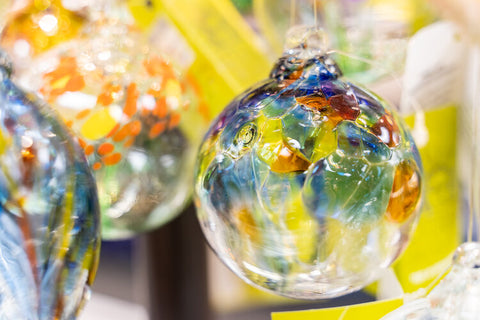 """Alt=""""Yellow and blue glass ball ornament gifts"""""""