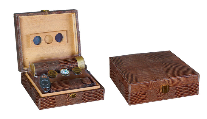 25 Ct. Brown Leather Gift Set w/ Matching Accessories