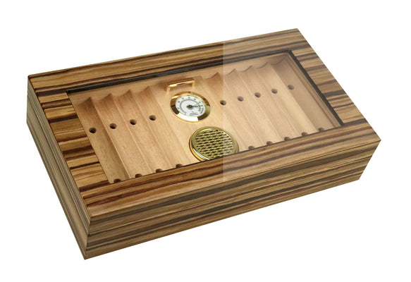 25-35 Ct. Tech Wood Lacquer Glasstop Humidor w/ Removable Cigar Bed