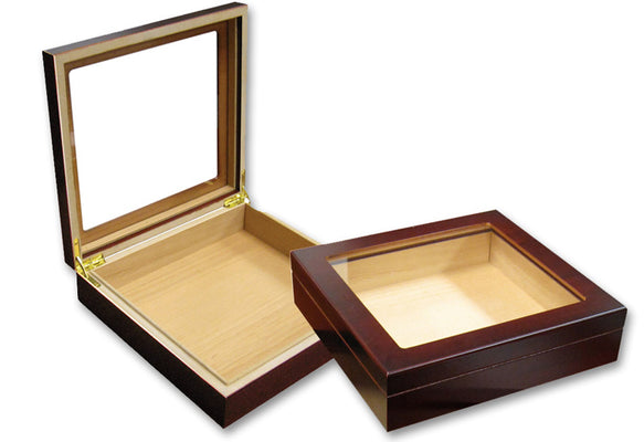 20 Count Cherry Glasstop Cigar Humidor w/ Humidifier