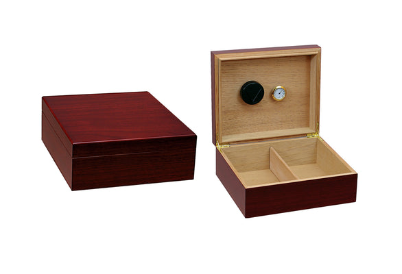 25-50 Count Cherry Humidor w/ Humidifier & Hygrometer
