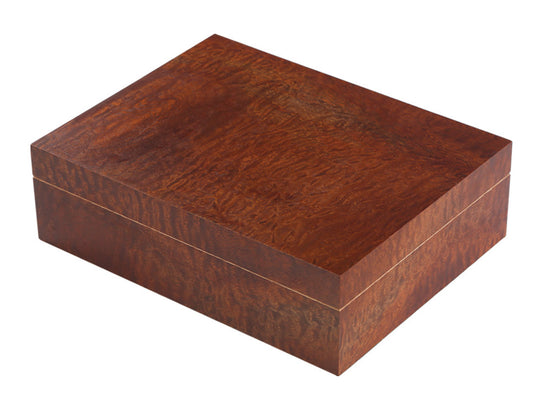 25-50 Count Exotic Makore Pommele Humidor w/ Humidifier & Hygrometer
