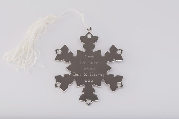 Personalised Engraved Snowflake Decoration Free Delivery