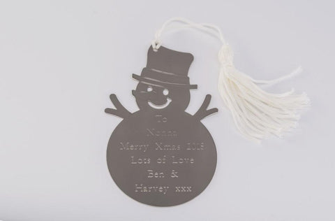 Personalised Engraved Snowman Decoration Free Delivery