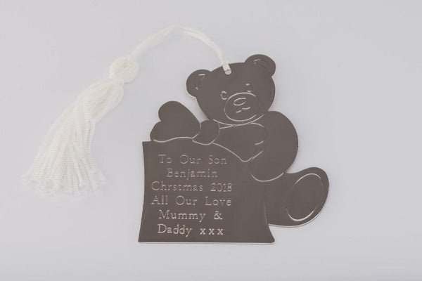 Personalised Engraved Teddy Bear Decoration Free Delivery