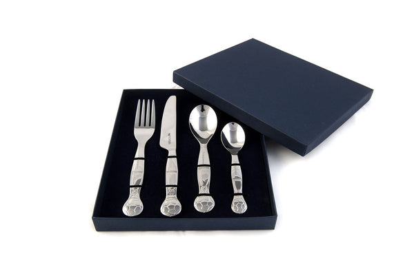 Children's Personalised Engraved Football Cutlery Set With Bespoke Presentation Box Free Delivery
