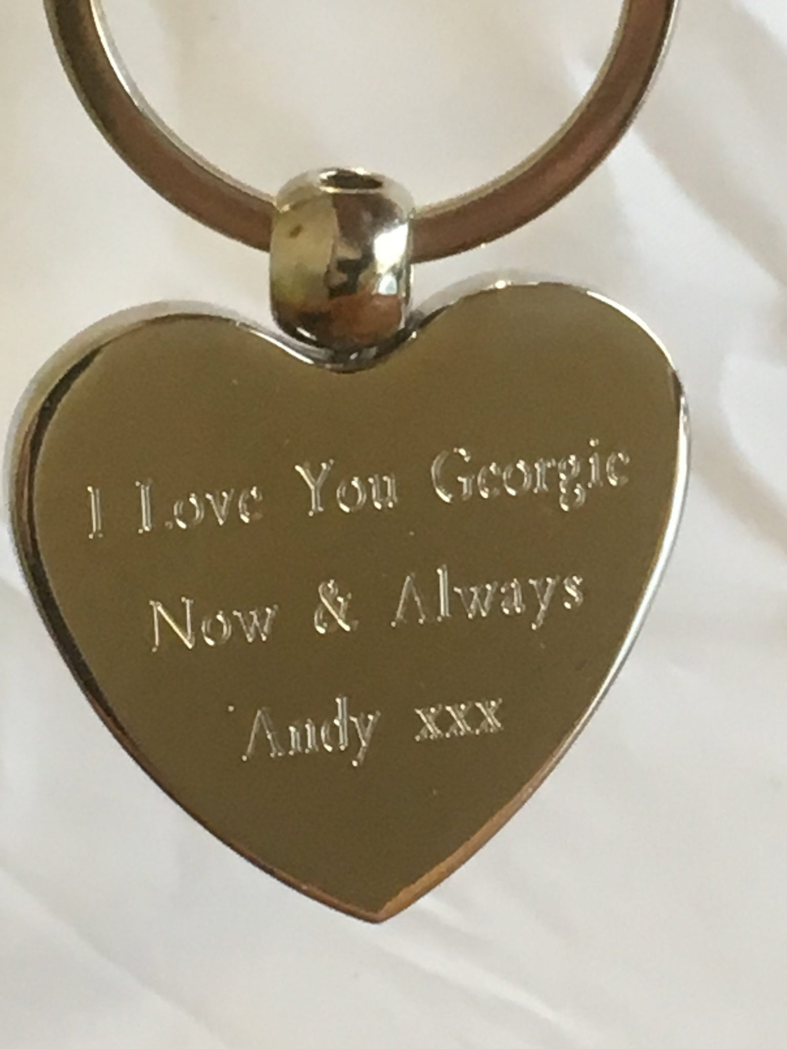 Engraved Heart Shaped Keyring
