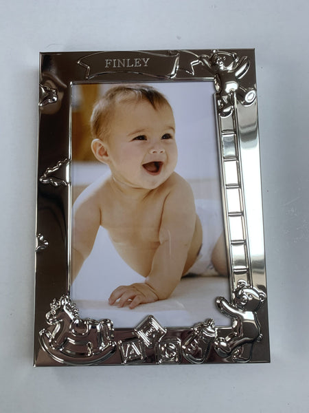 Silver Plated Baby Photo Frame Engraved With Name