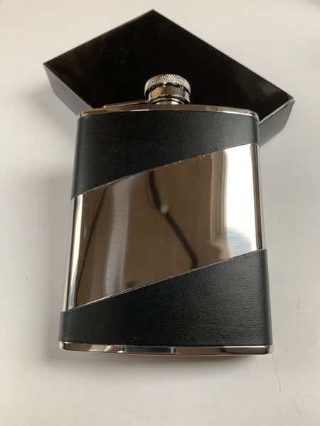 Leather bound 6oz Hip Flask Engraved with your message