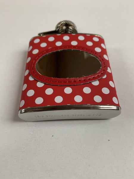 Leather Red and White Polka dot clad hip flask engraved with your message