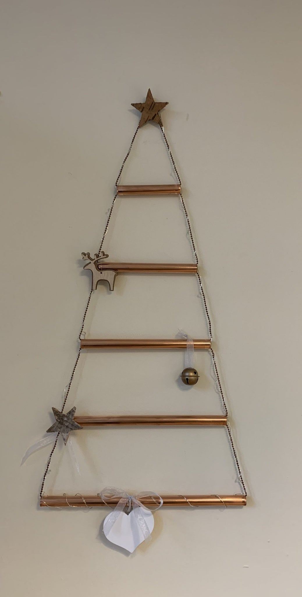 Handmade Copper Christmas Tree c/w lithium battery powered lights