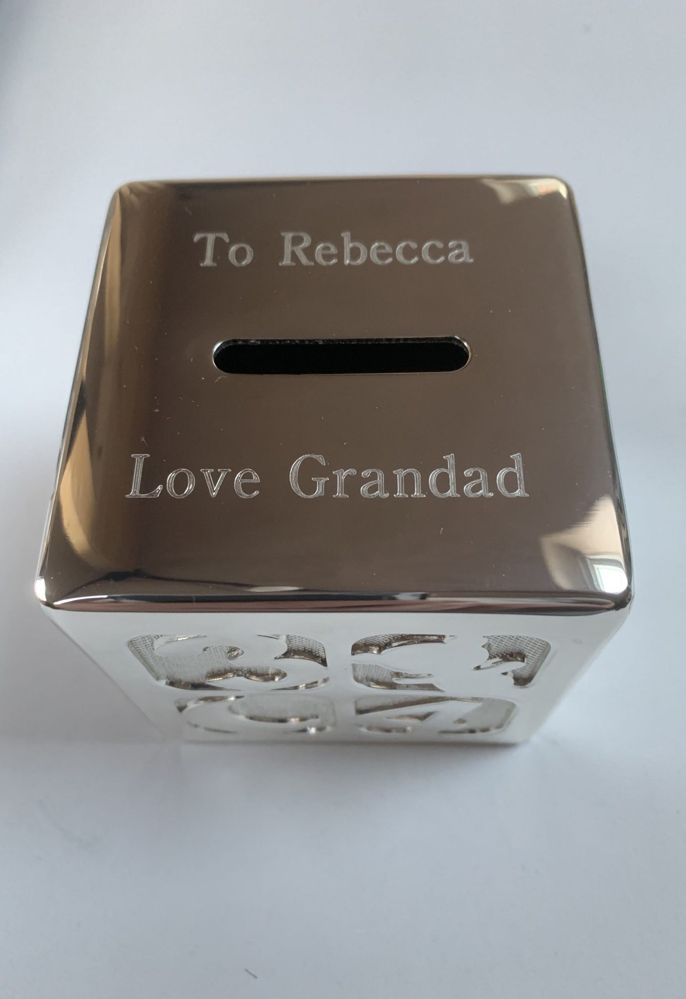 PERSONALISED SILVER PLATED MONEY BOX