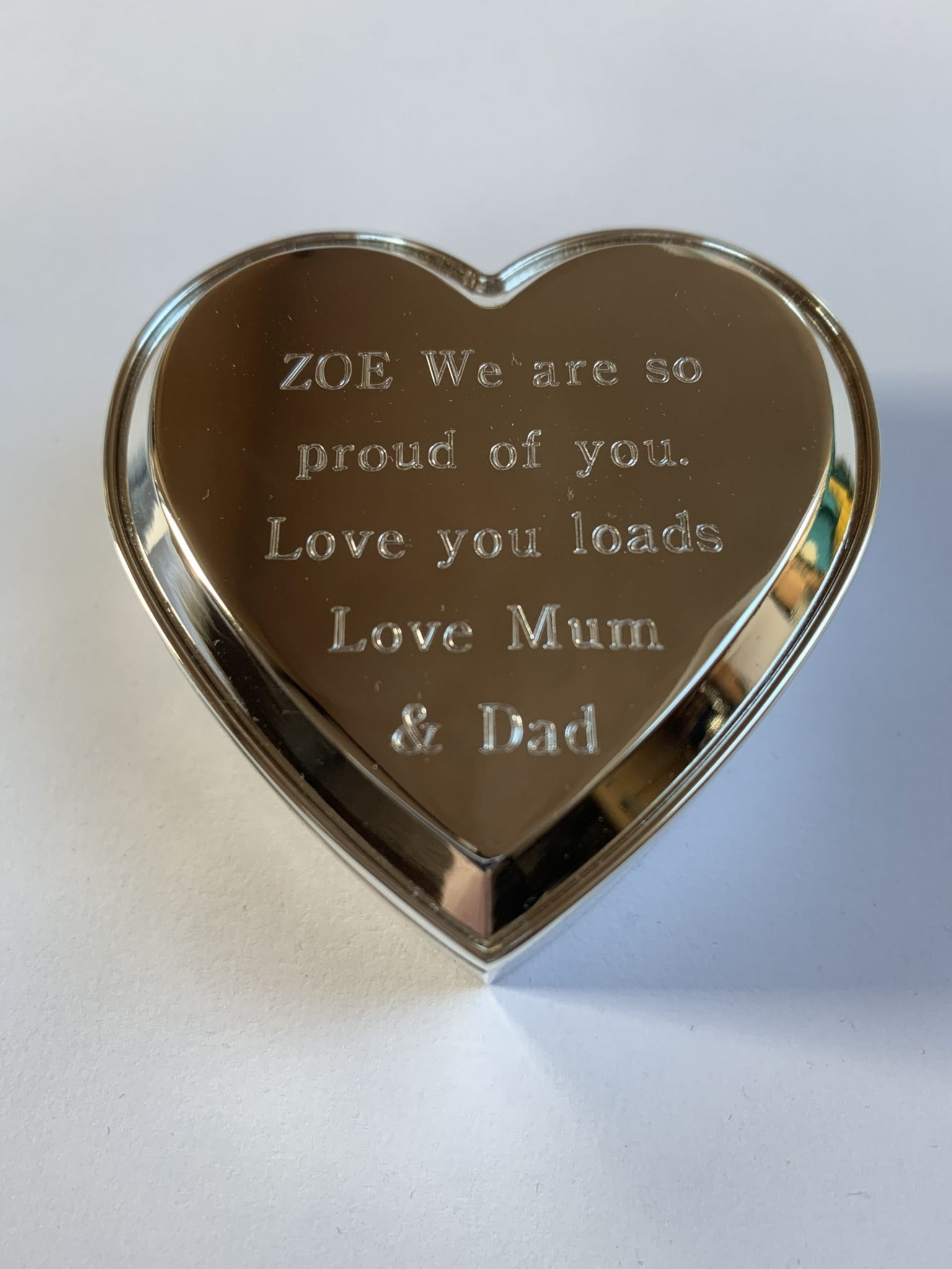 Heart Shaped Personalised Engraved Silver Plated Trinket Box Free Delivery