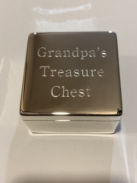 Personalised Silver Plated Square Hinged Trinket Box