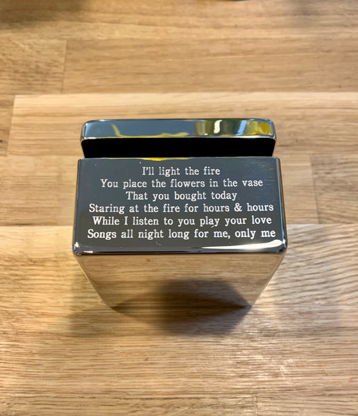 Silver Plated Trinket Box Engraved With Song Lyrics, Poetry, Film Quotes, Personal Message
