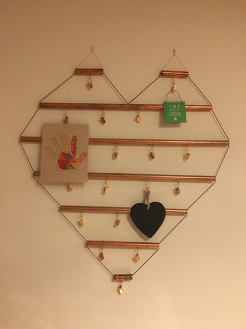 Shiny Copper Love Heart Picture Hanger/Notice Board