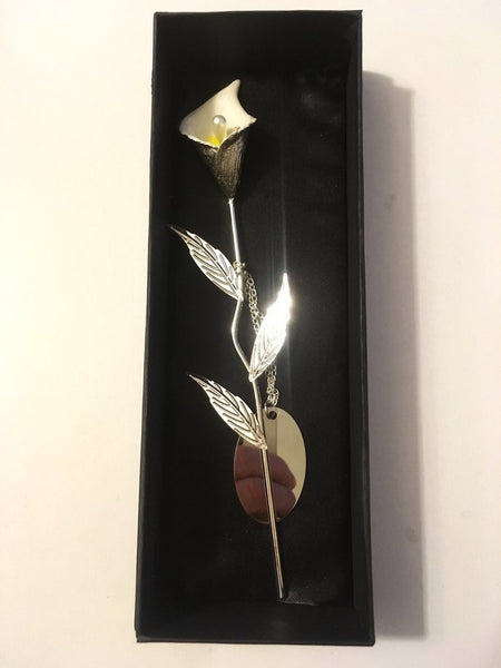 Personalised Engraved Silver Plated Calla Lily Free Delivery