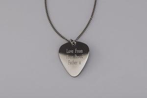 Guitar Plectrum Pendant and Chain Personalised Engraved Necklace Free Delivery