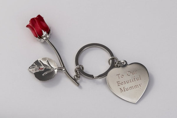 Silver Plated Red Rose Keyring with Engraved Personalised Message Free Delivery