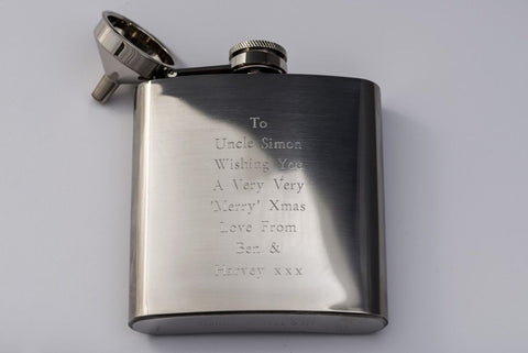 Personalised Engraved Hip Flask 6 floz Free Delivery