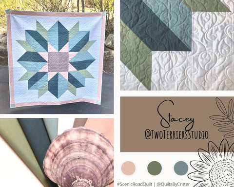 Collage of quilt photos by @TwoTerriersStudio