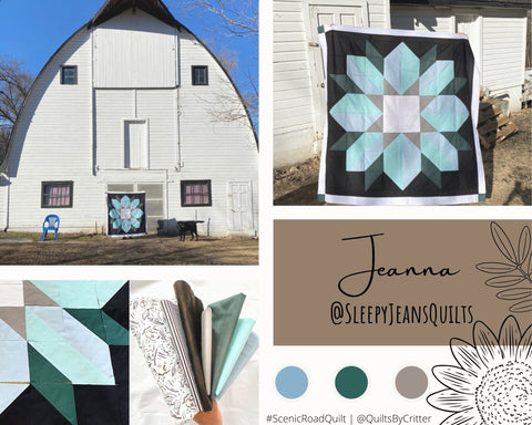 Collage of quilt photos by @SleepyJeansQuilts