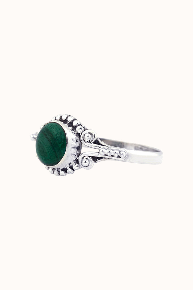 Mira sølv ring grøn malachite