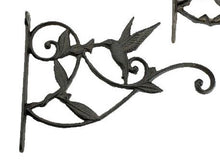 Load image into Gallery viewer, Decorative Cast Iron Plant Hanger with Hummingbird Sipping from a Flower.  Garden Decor